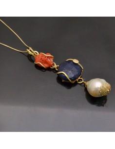Ciondolo incastonato Corallo, Agata blu e Perla Barocca in argento 925%