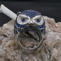 Anello Gufo con zirconi blu in argento 925%