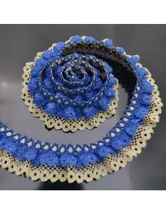 Passamaneria frappina in poliestere col blu ALTA 2.5 CM 1 mt per le tue creazioni