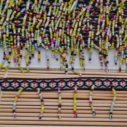 Passamaneria bordo frangia 5.5cm con perline MULCOLOR 50cm per le tue creazioni