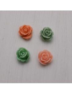 5 pz Cabochon fiori Rosa in Resina 10 mm base piatta per Bigiotteria