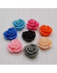 3 pz Cabochon fiori Rosa in Resina 18 mm base piatta foro passante per Bigiotteria