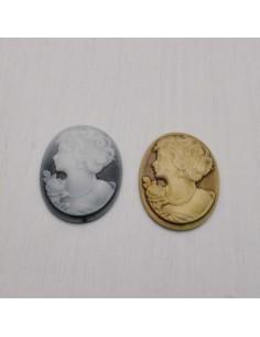 2 pz Cameo Cabochon Princess in resina 28.7 x 37 mm per crema gioiello per BIGIOTTERIA