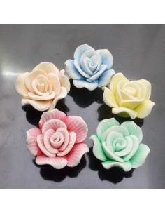 fiore pasta fimo 30 mm con foro passante crema gioiello per BIGIOTTERIA