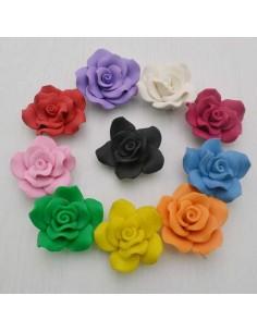 fiore pasta fimo 42 mm con foro passante crema gioiello per BIGIOTTERIA
