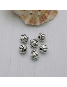Distanziatore a forma di palla rigata 7 mm 6 pezzi in metallo per bigiotteria