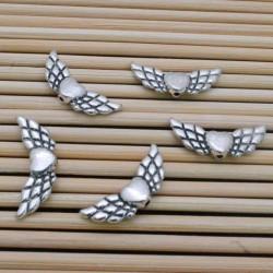 Distanziatori Ali CON CUORE argento 8 x 22 mm 5 pz PER bracciale BIGIOTTERIA