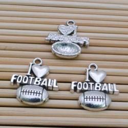 Ciondoli sport palla daI Love football 16 x 18 mm 3 pz per bigiotteria