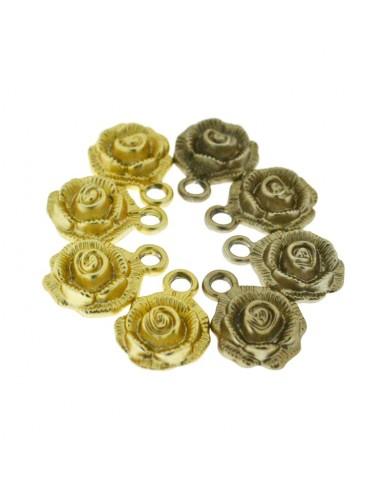 Ciondoli 4 Pz. rose marrone e oro
