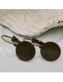 2 Paia monachelle chiuse incollo con piatto 12 mm in ottone per bijoux