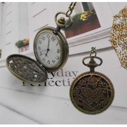 collana orologio tasca Stile Vintage ciondolo con farfalla e con orologio funzionante