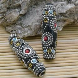 perline antiche Oriental particolare forma ovale 18 x 61 mm foro 4 mm base nero per bigiotteria