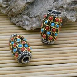 perline antiche Oriental particolare forma ovale 18 x 32 mm foro 4 mm base nero per bigiotteria