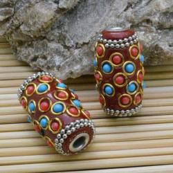 perline antiche Oriental particolare forma ovale 18 x 32 mm foro 4 mm base arancione per bigiotteria