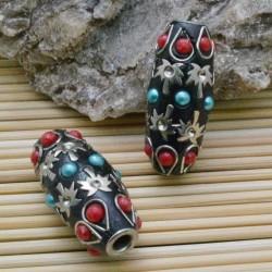 perline antiche Oriental particolare forma ovale 18 x 40 mm foro 4.7 mm base nero per bigiotteria