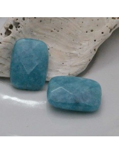 2 pz Angelite rettangolare piatta sfaccettata 13 x 18 mm per tuoi gioielli