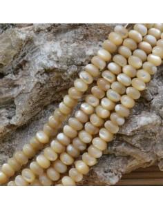 1 filo madreperla A NATURALE forma a RONDELLA liscio 4 x 6 mm 100 pz 40 cm beige per i tuoi gioielli