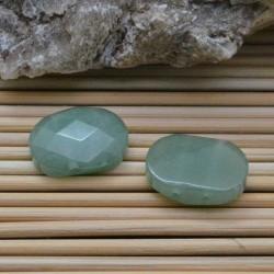 PIETRE DURE Giada sfaccettata piatta con 2 fori passante 15 x 20 mm verde per i tuoi gioielli