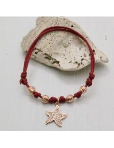 collana Bracciale con filo cerato a pallina argento 925 oro rosa ciondolo stella marina donna