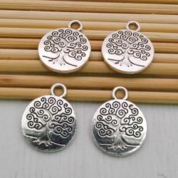 ciondoli Alberi della vita 15 x 18 mm in metallo colore argento 4 pz