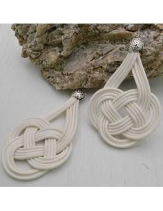 base nodo cinese per orecchini CORDINO CERATO col bianco per tuoi gioielli
