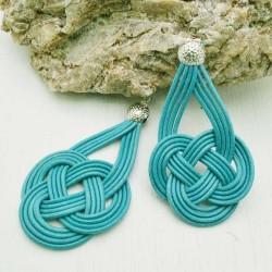 base nodo cinese per orecchini CORDINO CERATO col celeste per tuoi gioielli