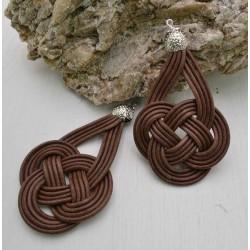 base nodo cinese per orecchini CORDINO CERATO col cioccolato per tuoi gioielli