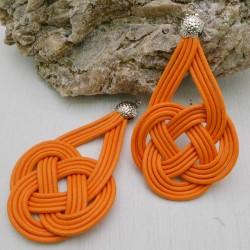 base nodo cinese per orecchini CORDINO CERATO col giallo arancio per tuoi gioielli