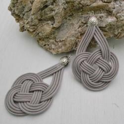 base nodo cinese per orecchini CORDINO CERATO col grigio per tuoi gioielli