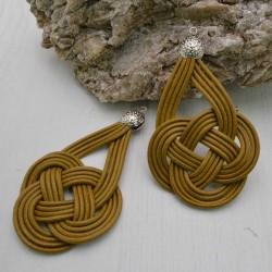 base nodo cinese per orecchini CORDINO CERATO col ocra per tuoi gioielli