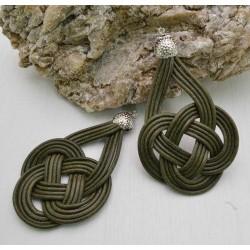 base nodo cinese per orecchini CORDINO CERATO col verde militare per tuoi gioielli
