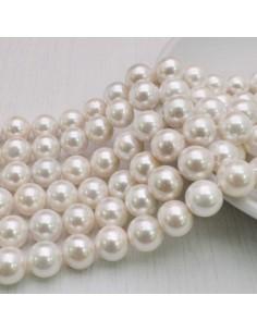 Perle Di Madreperla rotondo col bianco 10 mm 41 pz per tuoi gioielli