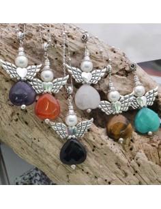 collana pendente forma angelo ciondolo in pietra dura 40 x 60 mm con catena a pallina 90 cm