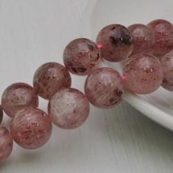 Filo pietra quarzo ematoide rosa tondo liscio 14 mm 28 pz PER TUOI GIOIELLI