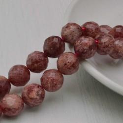 Filo pietra quarzo ematoide rosa e sfaccettata tondo 12 mm 34 pz PER TUOI GIOIELLI