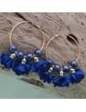 Orecchini fiori in raso blu Cerchio anello oro 45 mm con perle in ceramica