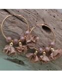 Orecchini fiori in raso cammello Cerchio anello oro 45 mm con perle in ceramica