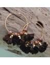 Orecchini fiori in raso marrone Cerchio anello oro 45 mm con perle in ceramica
