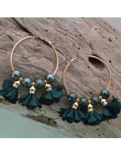 Orecchini fiori in raso col verde scuro Cerchio anello oro 45 mm con perle in ceramica