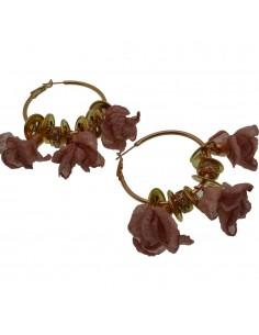 Orecchini fiori in seta col rosa antico Cerchio anello oro 45 mm con perle in ceramica