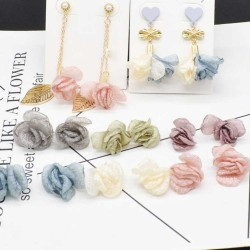 2 pz fiore di seta per creazione nappine nappe pendente ciondoli orecchini collana