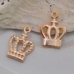 Ciondolo oro forma corona 10 x 15 mm in ottone 2 pz