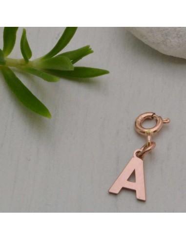 nuovi stili 70823 1c308 lettere alfabeto in argento 925 Pendente Lettere placcato oro rosa clip su  Charms per braccialetti collana
