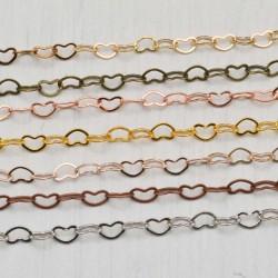 Catena maglia cuore in ottone anelli piatta saldati 3 x 4.2 mm 1 MT colore varia per le tue creazioni