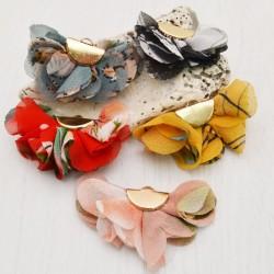 2 pz nappe stoffa Nappina a fiore in tessuto Ciondoli Fiore Oro Placcato Multicolore