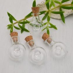 2 pz Bottiglietta in vetro a forma di TONDA MEZZA PIATTA 20 X 33 MM