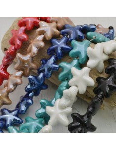 perle in ceramica luminosa forma stella 20 mm fili 16 pz