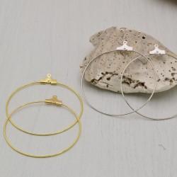 4 pz base per orecchini a cerchio sottili 40 mm filo 0.7 mm in ottone per le tue creazioni