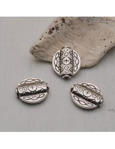 3 pz distanziatore tondo piatta con fantasia 16 mm col argento per tuoi gioielli