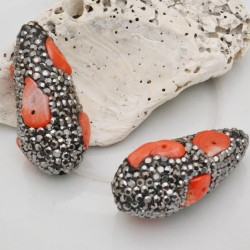perle forma goccia con marcasite 17 x 35 mm pietra di corallo di bambù rosso